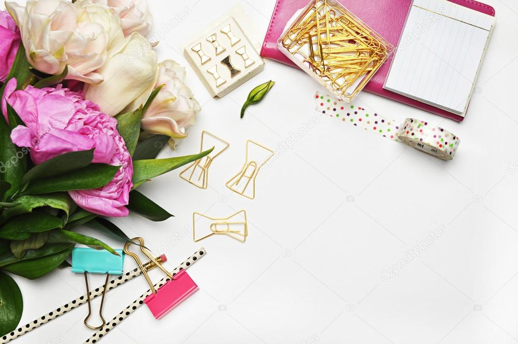 Peonies flower and gold items. White background mockup