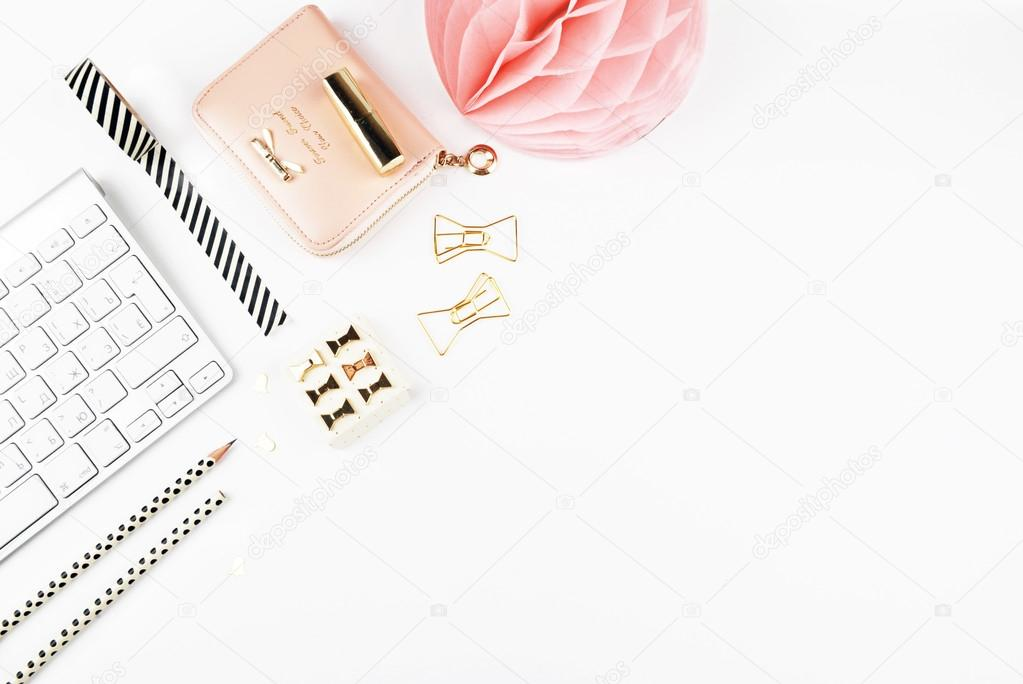 Office white table top view, stationery gold
