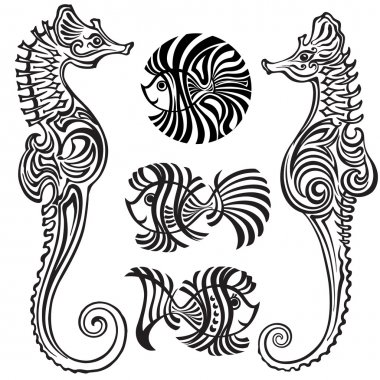 Sea horses and fishes