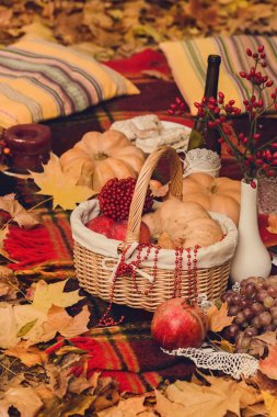 Autumn composition of yellow flowers, oatmeal cookies, apple, pu