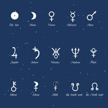 Astrological simbols, set of the planets signs