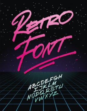 Retro font on light grid background. Vector alphabet