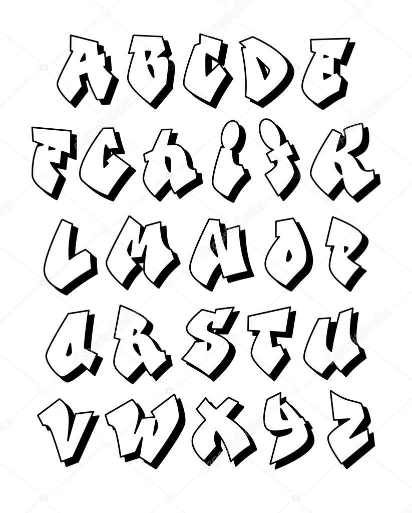 Graffiti alphabet vector font vector by