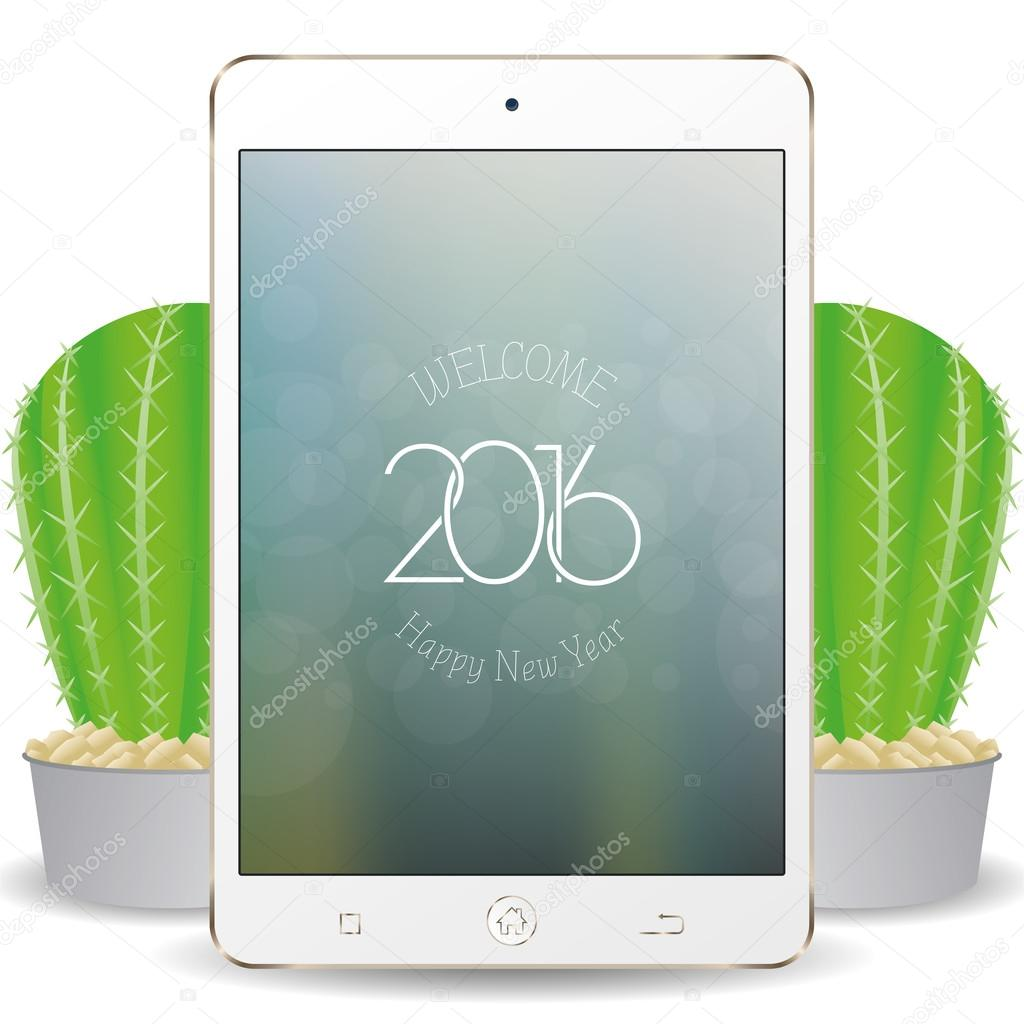 isolated cellphone with a screensaver with text for new year celebrations vector by illustratiostock