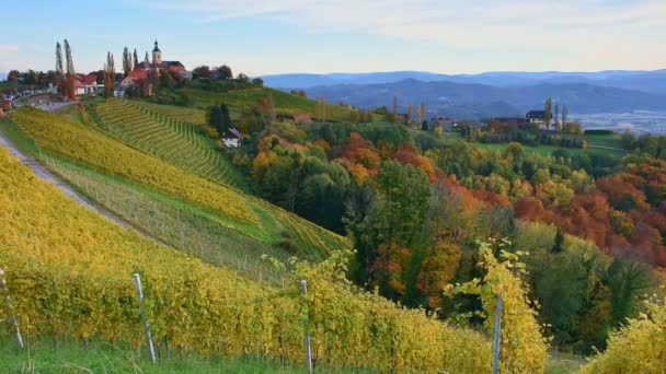 Podzim na vinicích jižního Štýrska, známé jako rakouské Toskánsko, půvabná oblast na hranici mezi Rakouskem a Slovinskem s zvlněnými kopci, malebnými vesnicemi a vinařskými hospodami, při východu slunce.