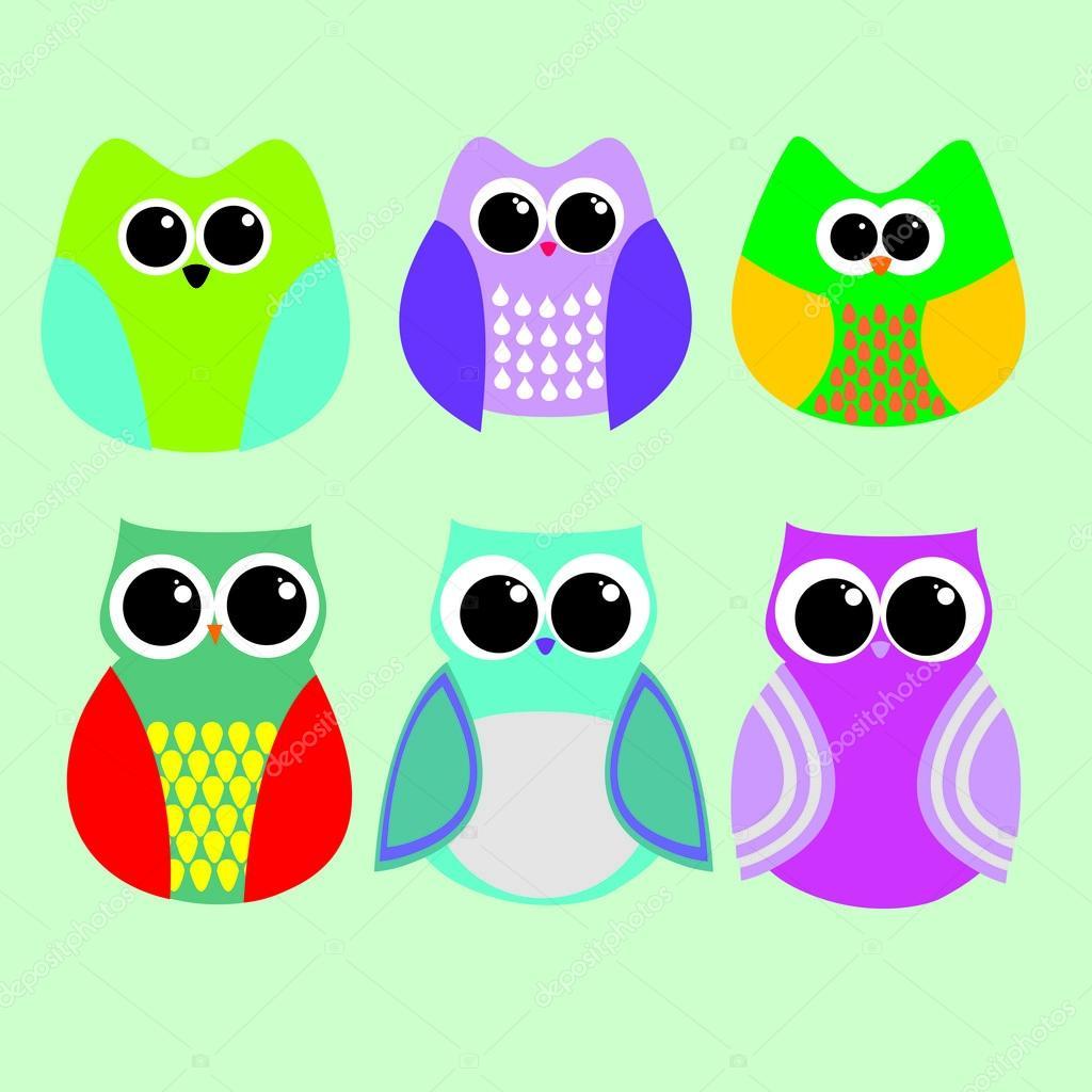 Dibujos Buhos De Colores Dibujos Animados De Buhos De Colores