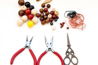 wooden beads and tools for creating fashion jewelry in the manuf