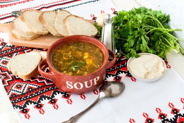 Green sorrel soup with egg in plate