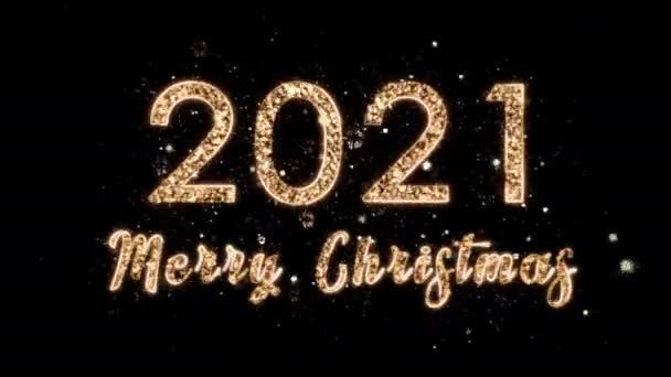 4k Karácsonyi kompozíció gratulálunk 2021 és Boldog Karácsonyt. A számok a tűzijáték varázslatos szikráiból származnak. Összetétel fekete alapon alfa csatornával