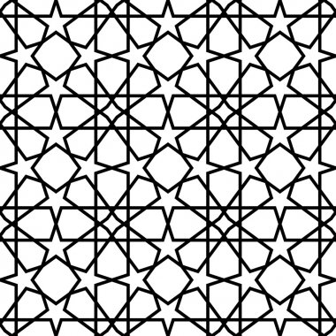 Black and white geometric seamless pattern background..