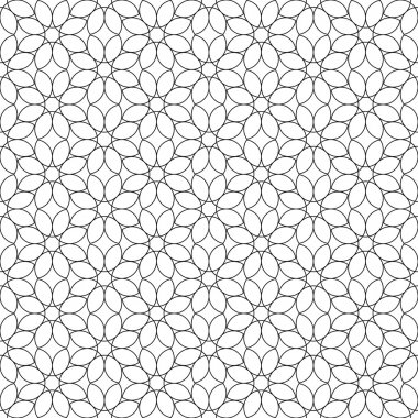 Black and white geometric seamless pattern flower stylish with line.
