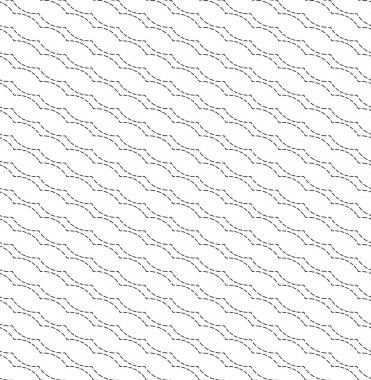 Black and white geometric seamless pattern with wavy dashed line, abstract background.