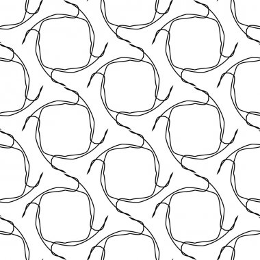 Black and white geometric seamless pattern with tangle line, abstract background.