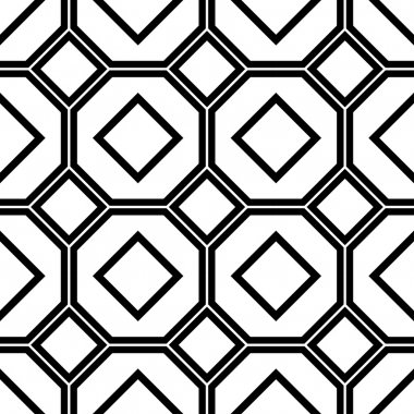 Black and white geometric seamless pattern with line, square and octagon.