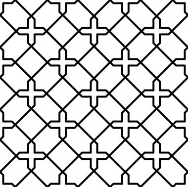 Black and white geometric seamless pattern in arabic stylish, abstract background.