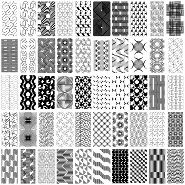 50 black and white geometric seamless pattern set.