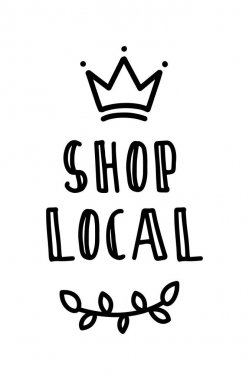 SHOP LOCAL hand drawn text and doodles badges, logo, icons. Handwritten modern vector brush lettering typography and calligraphy - shop local on a white background. Small shop, local business. icon