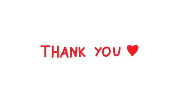 Vielen Dank. Handgeschriebener roter Text auf weißem Hintergrund.