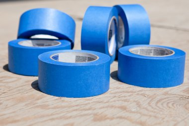 Blue tapes over plywood