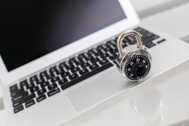 Computer security A lock on a luxury laptop