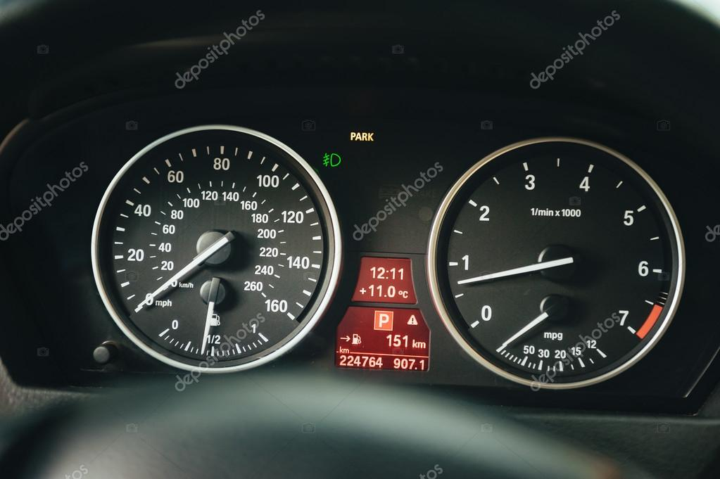 Closeup photo of car interiors. automobile instrument panel