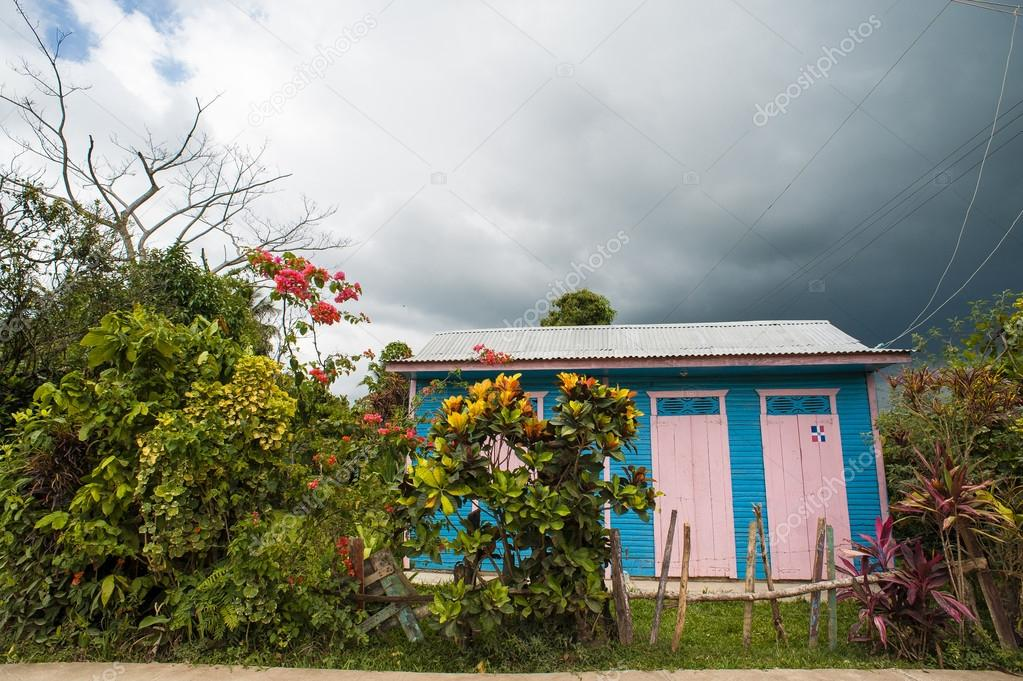 poor woden cabins at Dominican Republic, island Hispanola wich is a part of Greater Antilles archipelago in Carribean region