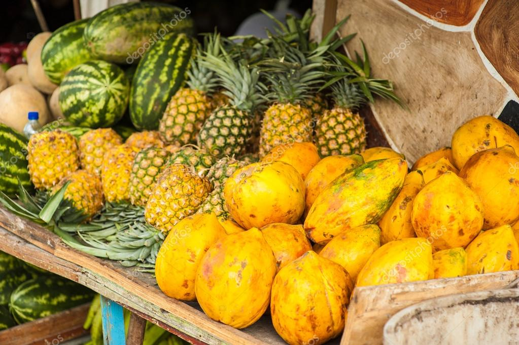 tropical fruits in outdoor market