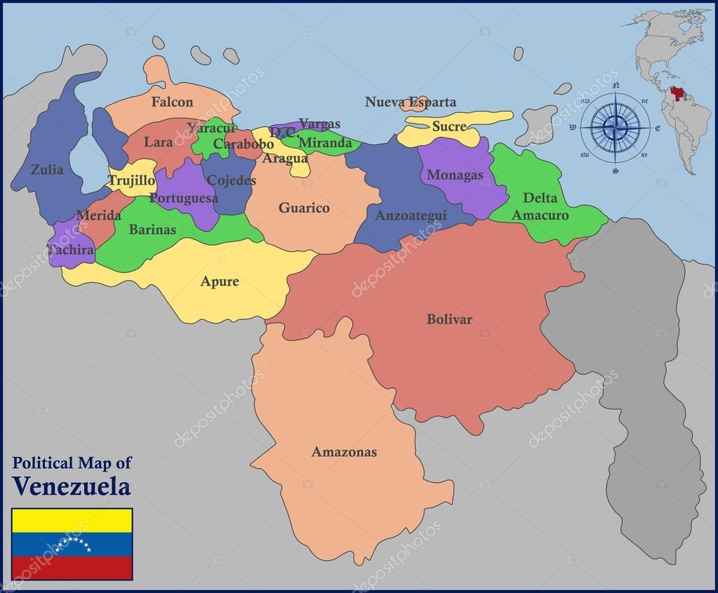 Political Map of Venezuela Stock Vector pablofdezr1984 110743090