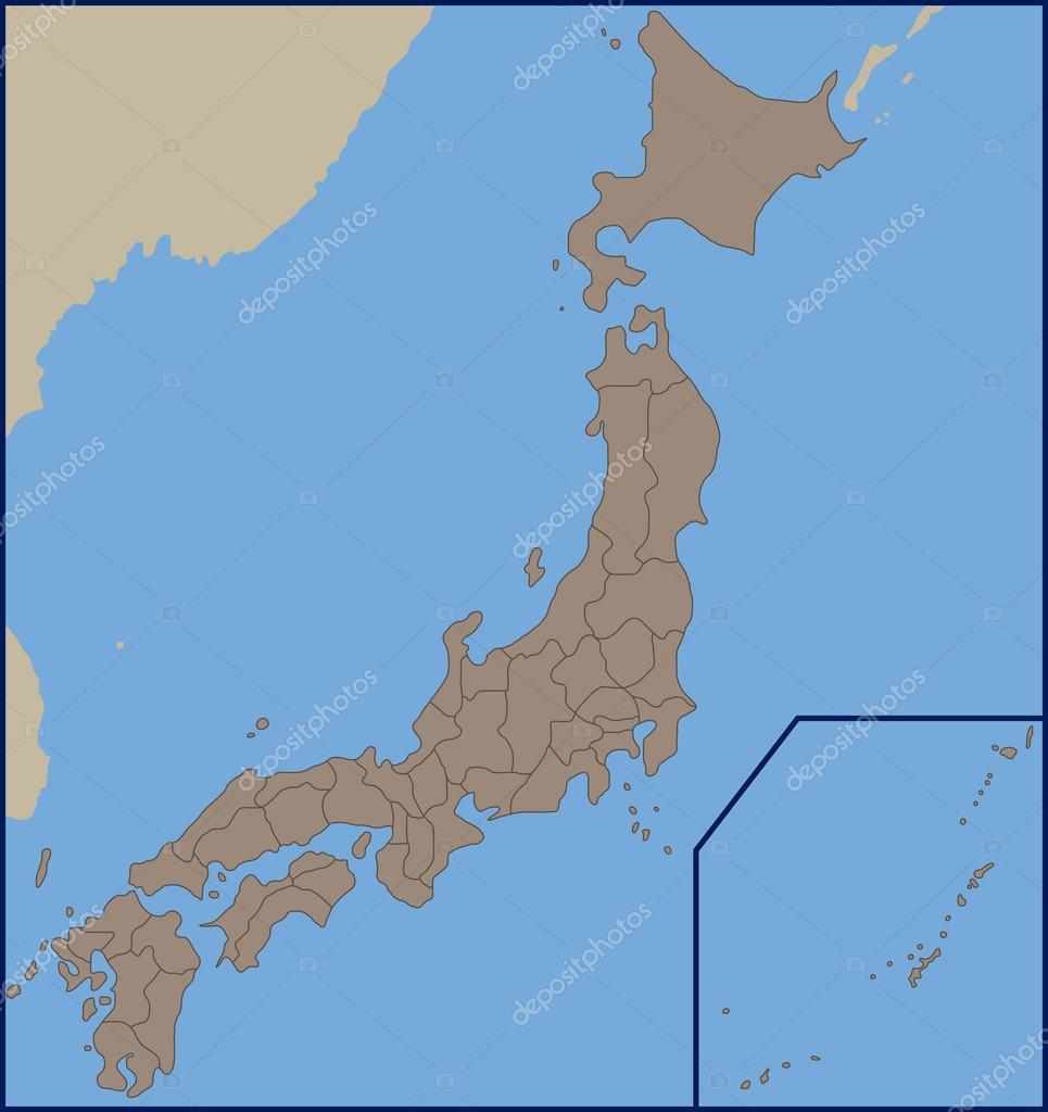 Cartina Muta Del Giappone.Vettore Cartina Del Giappone Politica Mappa Vuota