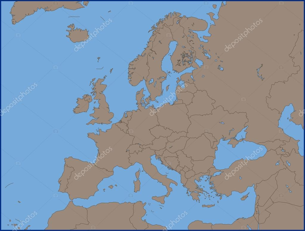 Empty Political Map Of Europe Stock Vector C Pablofdezr1984 110995114