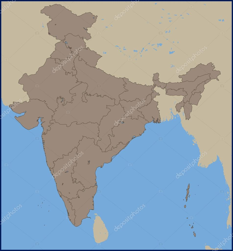 Empty political map of india stock vector pablofdezr1984 111774422 empty political map of india stock vector gumiabroncs Image collections