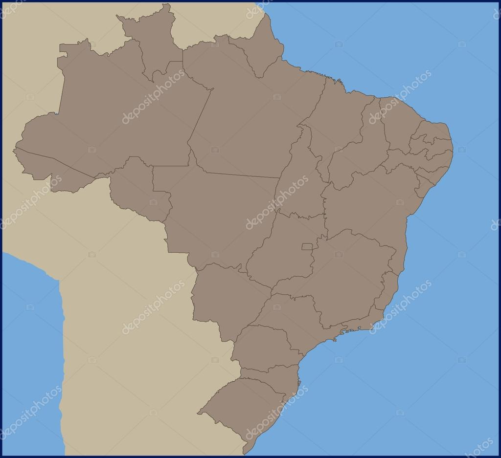 Empty Political Map Of Brazil Stock Vector Pablofdezr - Political map of brazil
