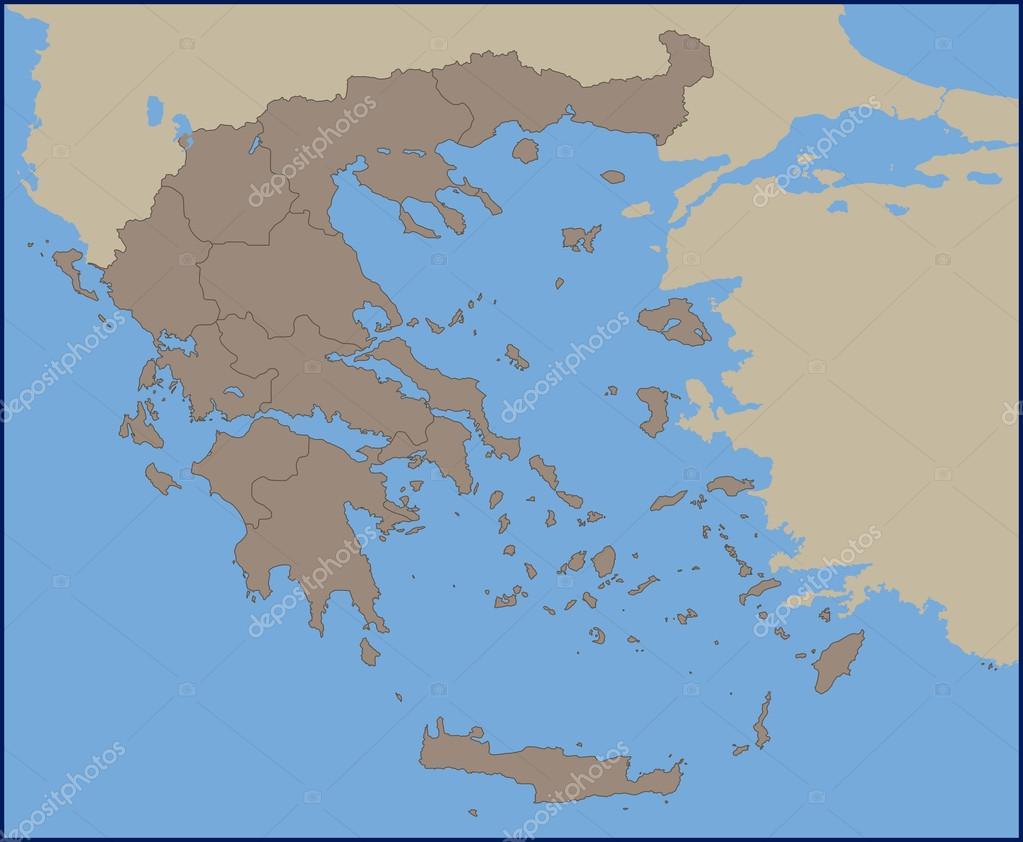 Empty Political Map of Greece — Stock Vector © pablofdezr1984 #114839608