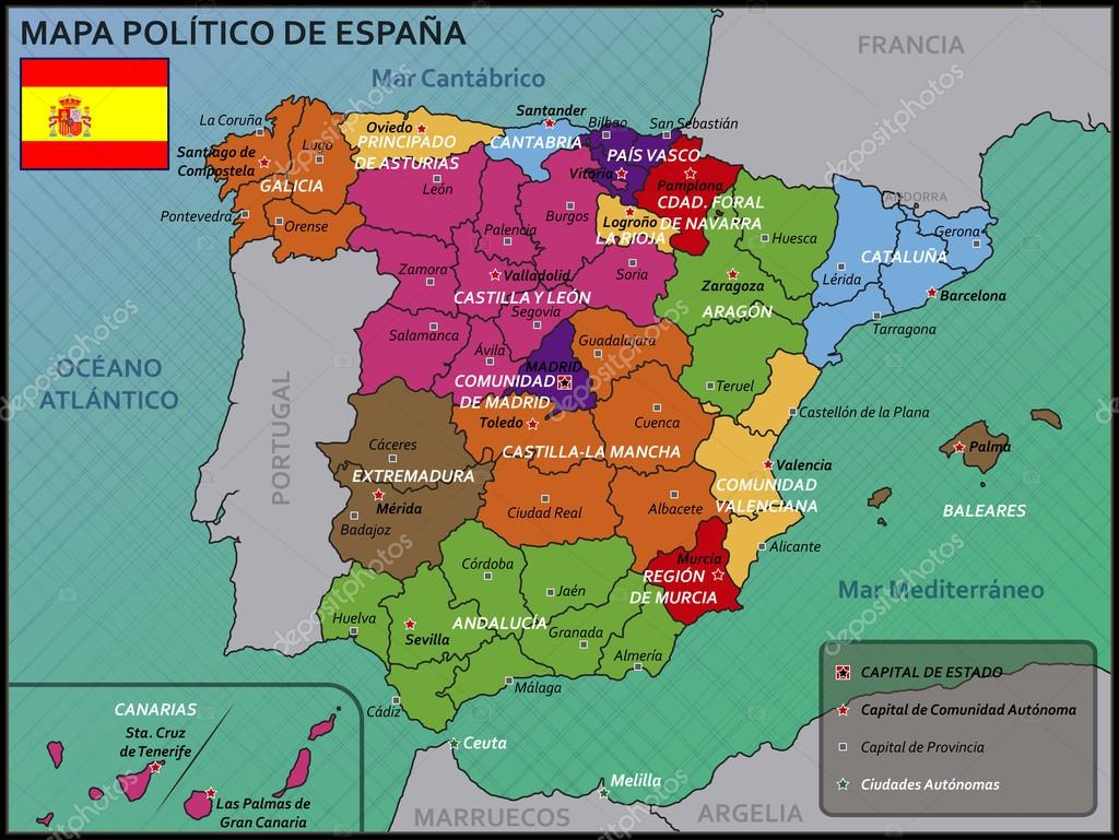 mapa politico de espanha Mapa político da Espanha bandeira e distintivo — Vetores de  mapa politico de espanha