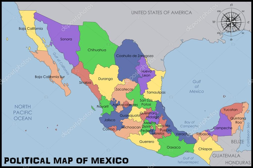 Political Map Of Mexico Stock Vector C Pablofdezr1984 70010133