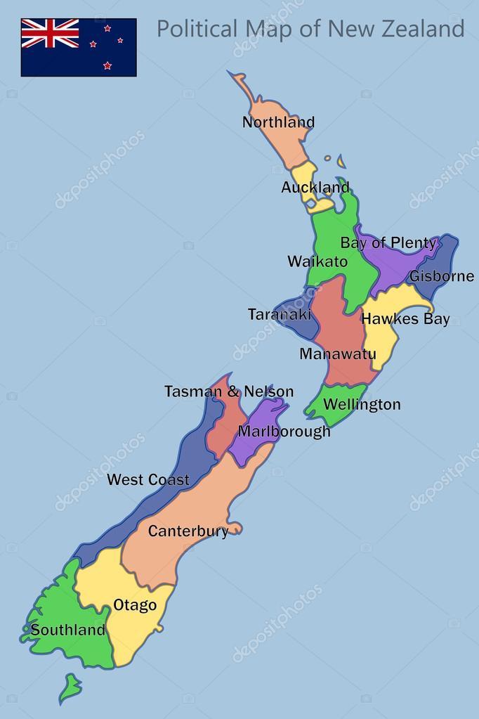 Political Map of New Zealand Stock Vector pablofdezr1984 72247981