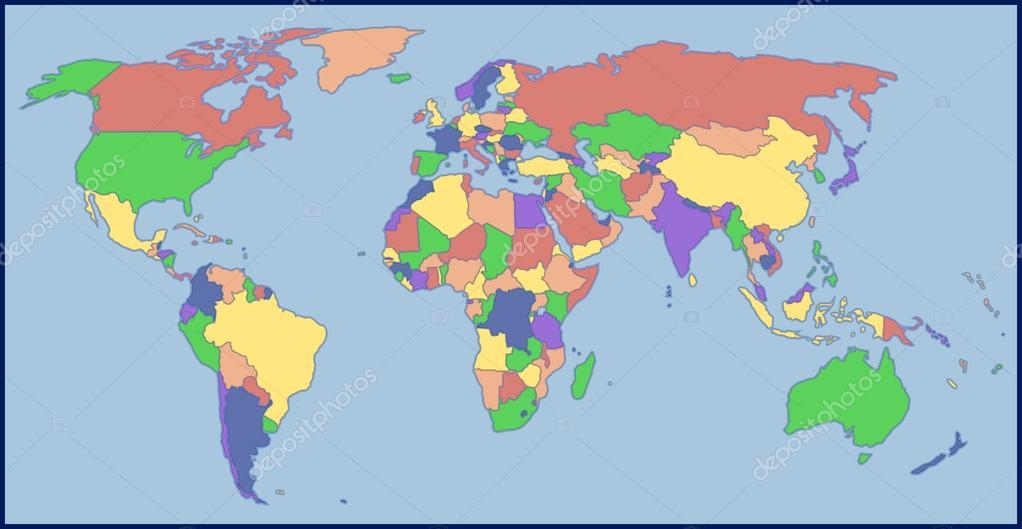 Carte muette, fond de carte. Monde projection polaire littoraux Etats (B)