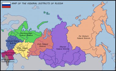 Map of the Federal Districts of Russia