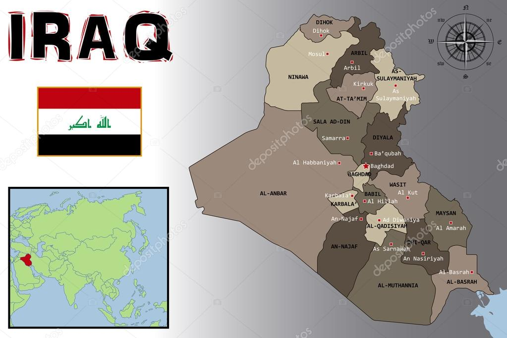 Map Flag and Location of Iraq Stock Vector pablofdezr1984 74759411