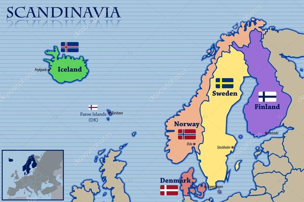 locatie kaart en lijst van vlaggen van scandinavi stockvector pablofdezr1984 77858712. Black Bedroom Furniture Sets. Home Design Ideas