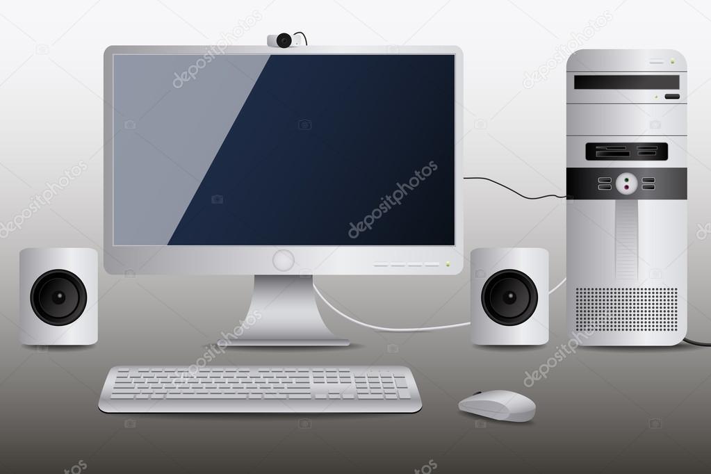 Ordinateur de bureau blanc u image vectorielle pablofdezr