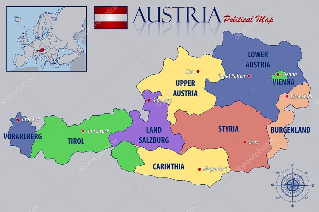 Political Map Of Austria Stock Vector Pablofdezr - Political map of austria
