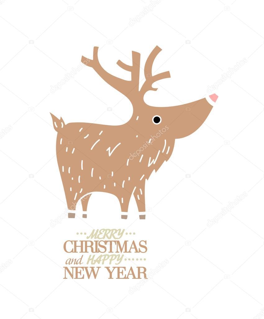 cute brown deer new year christmas holiday greeting card banner