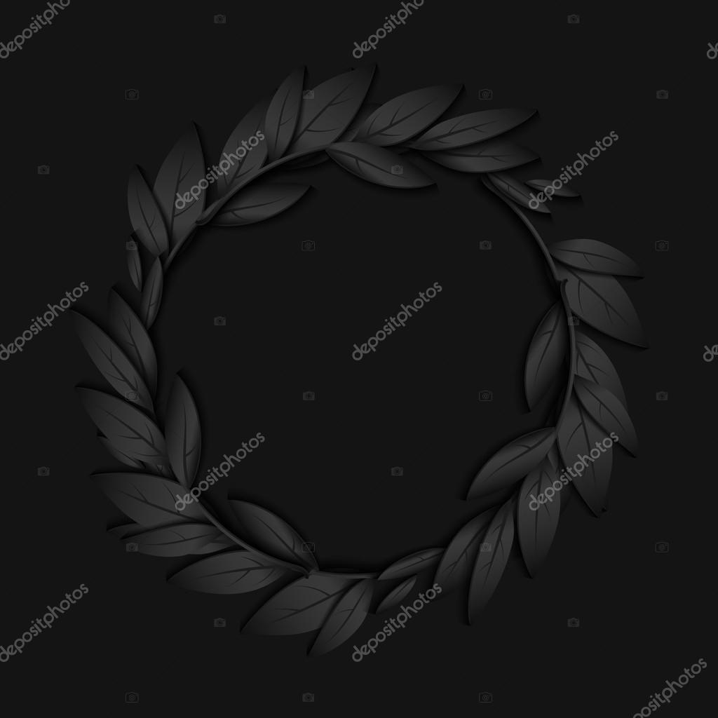 Marco circular de papel negro de ramas y hojas fondo negro jn ...