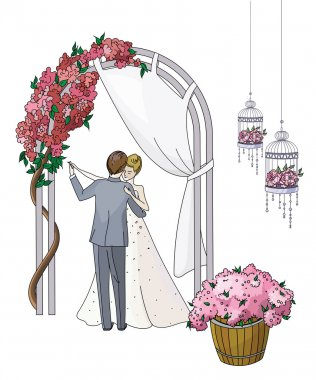Bride and groom. Newlyweds dancing couple in a romantic atmosphere under a flowered arch