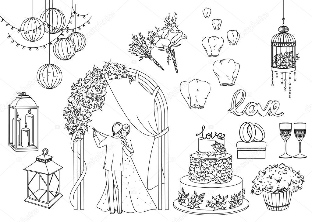 Big set of wedding decorative elements and attributes in linear big set of wedding decorative elements and attributes in linear sketch stock vector junglespirit Image collections