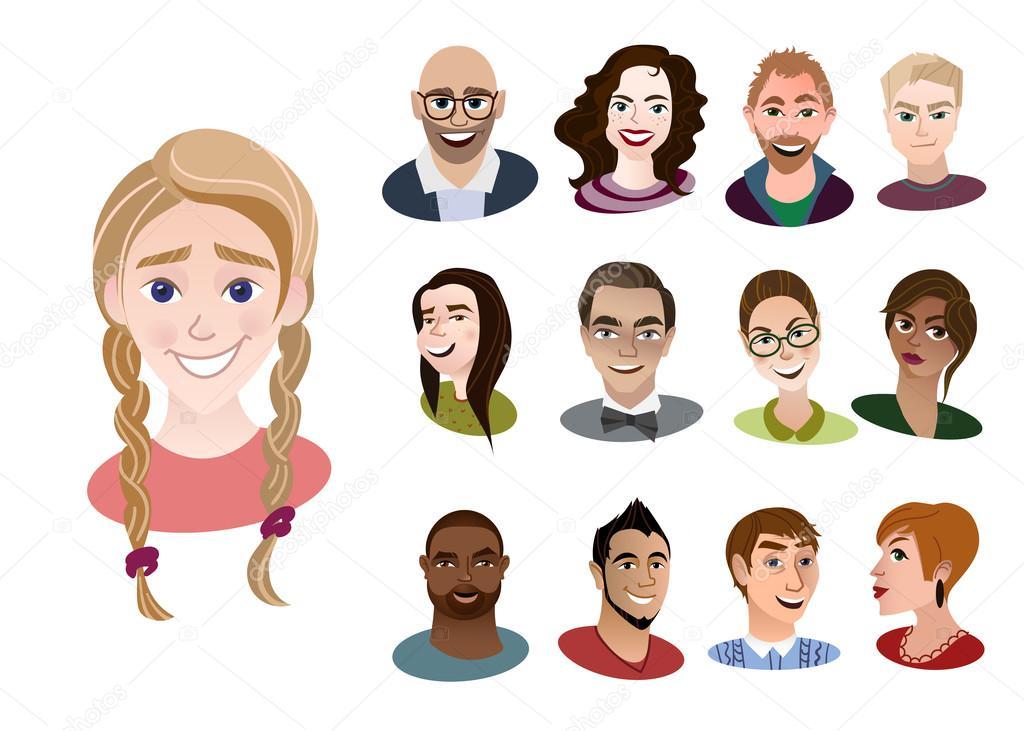 Imágenes Caras De Jovenes Animados Conjunto De Iconos De Dibujos