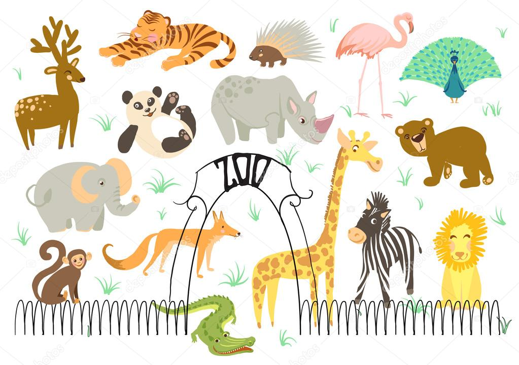 Big Vector Set of illustration of animal. Zoo cute animals.