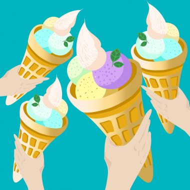 Hands holding  ice cream Paper Cups