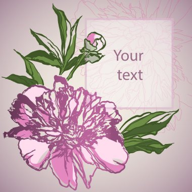 Greeting Card with Blooming Peonies